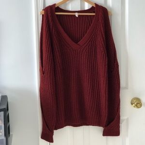 Sweaters - Oversized slouchy sweater with peek-a-boo sleeves